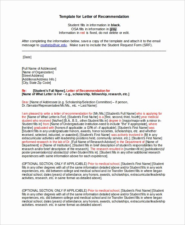 Scholarship Letter Of Recommendation Templates Lovely 6 College Reference Letter Templates Free Sample