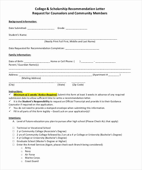Scholarship Letter Of Recommendation Templates Luxury 27 Letters Of Re Mendation for Scholarship Pdf Doc