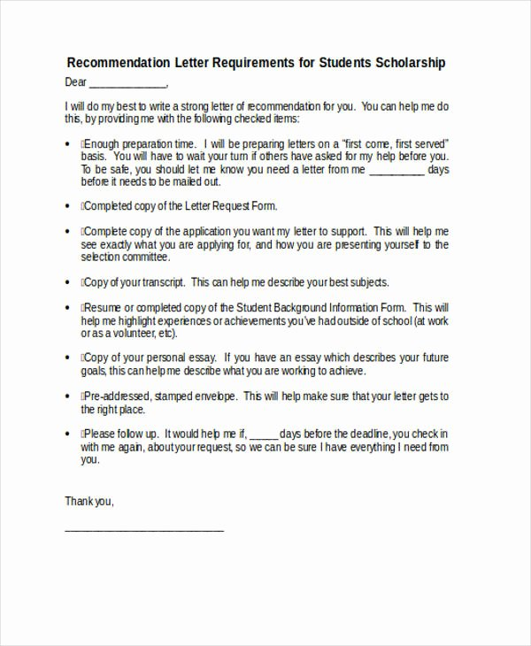 Scholarship Recommendation Letter Example Fresh 89 Re Mendation Letter Examples & Samples Doc Pdf