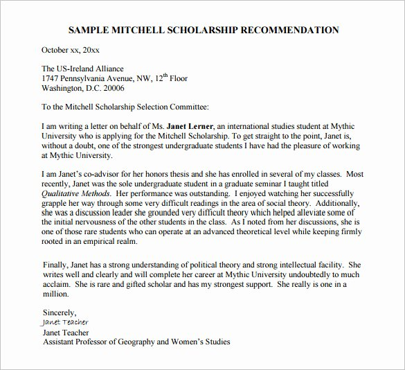 Scholarship Recommendation Letter Example Lovely 27 Letters Of Re Mendation for Scholarship Pdf Doc