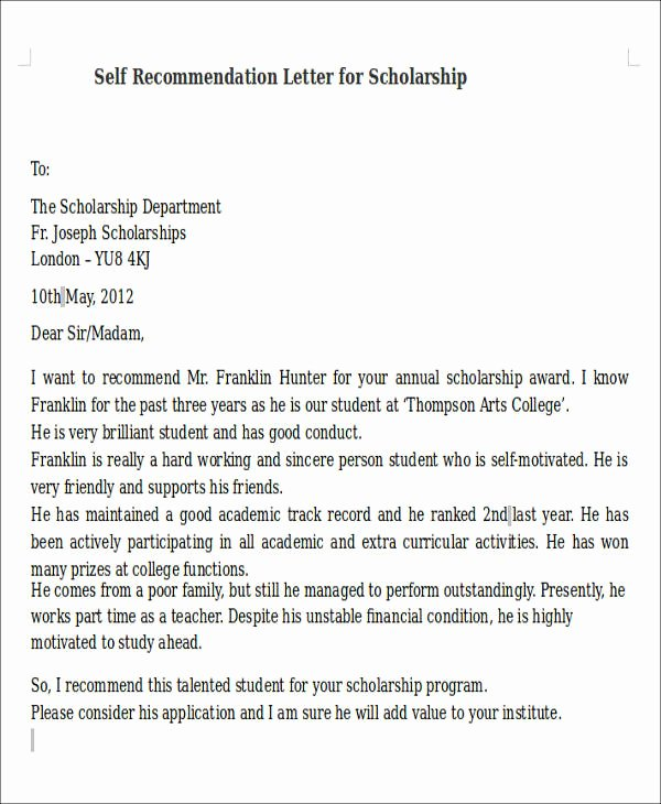 Scholarship Recommendation Letter Example New 8 Self Re Mendation Letter Samples Pdf Doc