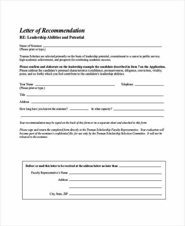 Scholarship Recommendation Letter Examples Beautiful 30 Sample Letters Of Re Mendation for Scholarship Pdf