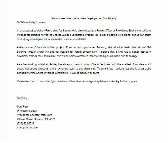 Scholarship Recommendation Letter Examples Elegant 27 Letters Of Re Mendation for Scholarship Pdf Doc