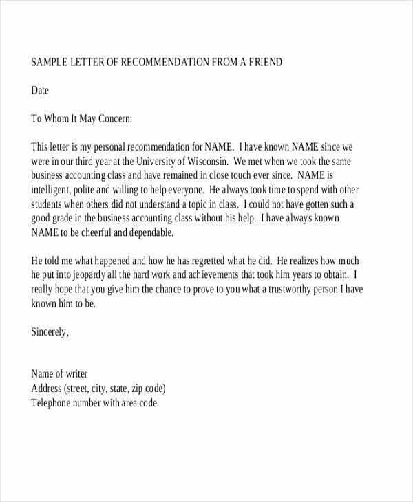Scholarship Recommendation Letter From Friend Beautiful Sample Re Mendation Letter 10 Free Documents In Word Pdf