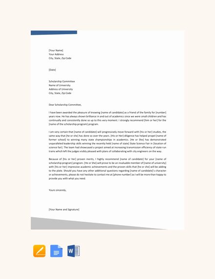 Scholarship Recommendation Letter From Friend Elegant 27 Letters Of Re Mendation for Scholarship Pdf Doc