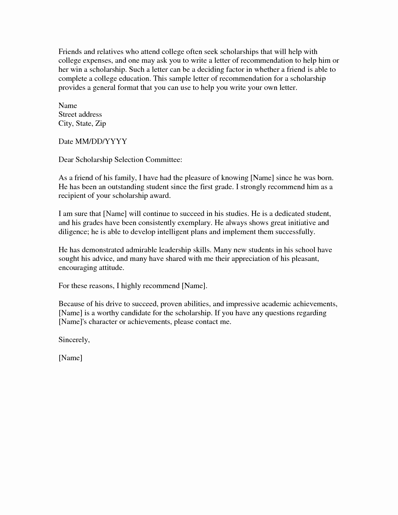 Scholarship Recommendation Letter From Friend Elegant Download Scholarship Re Mendation Letter Sample Word