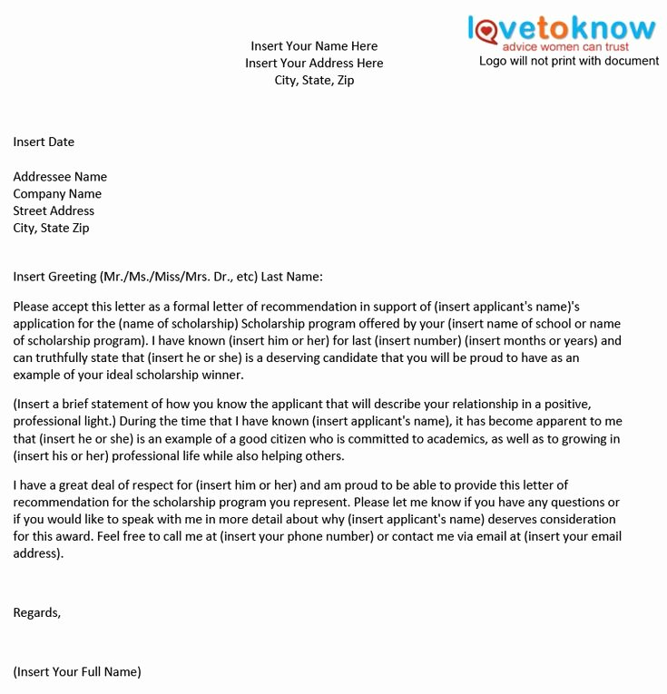 Scholarship Recommendation Letter From Teacher Awesome Personal Scholarship Re Mendation Letter