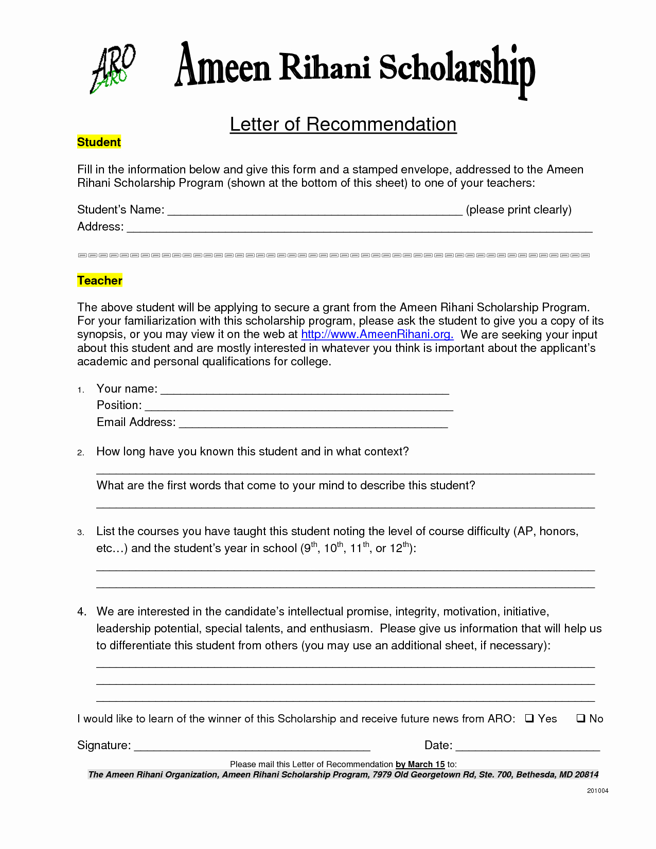 Scholarship Recommendation Letter From Teacher Fresh Letter Of Reference for Scholarship Sample & Templates