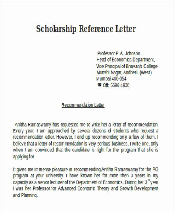 Scholarship Recommendation Letter From Teacher New Scholarship Reference Letter Templates 5 Free Word Pdf
