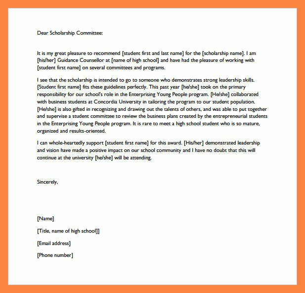 Scholarship Recommendation Letter From Teacher Unique 11 College Re Mendation Letter for Scholarship