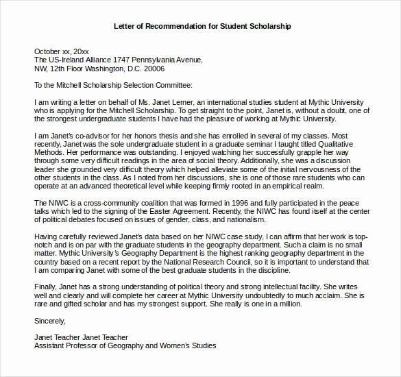Scholarship Recommendation Letter Sample Elegant 27 Letters Of Re Mendation for Scholarship Pdf Doc