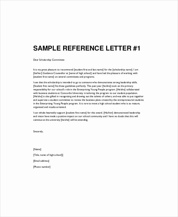 Scholarship Recommendation Letter Sample Elegant Sample Re Mendation Letter for High School Student 9