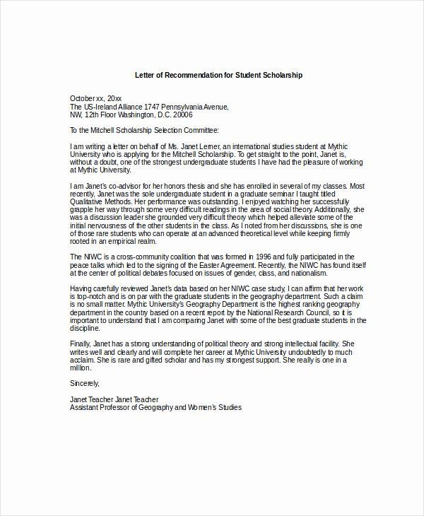 Scholarship Recommendation Letter Sample Elegant Scholarship Re Mendation Letter