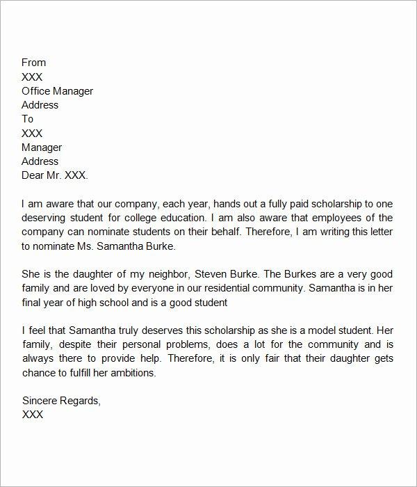 Scholarship Recommendation Letter Sample Fresh 30 Sample Letters Of Re Mendation for Scholarship Pdf