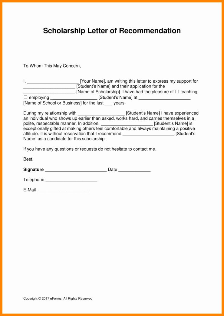 Scholarship Recommendation Letter Sample Fresh 6 Scholarship Re Mendation Letter From Employer Sample