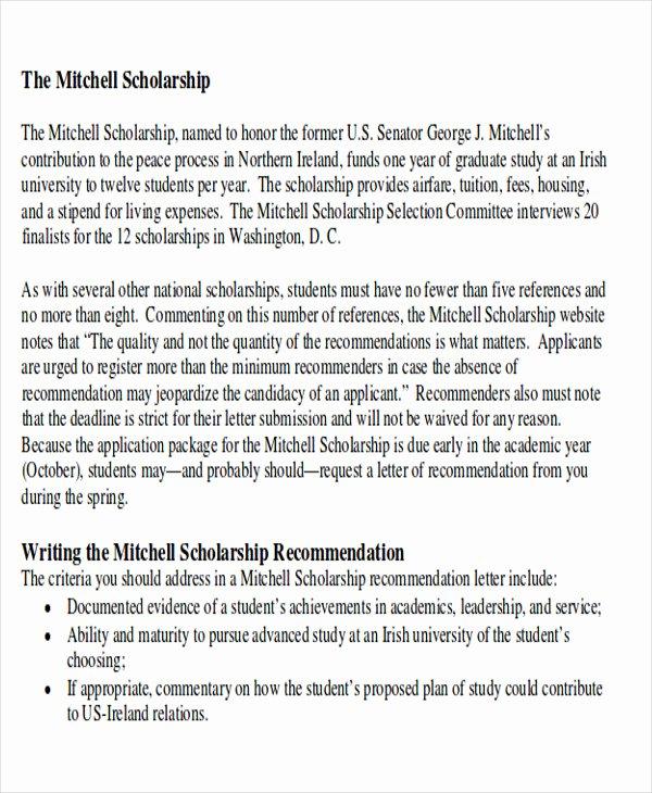 Scholarship Recommendation Letter Sample Fresh 9 Sample High School Re Mendation Letter Free Sample