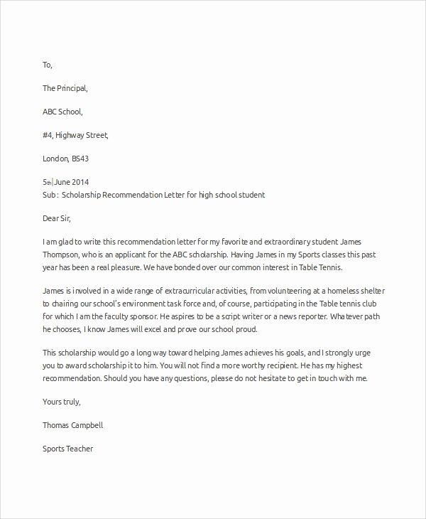 Scholarship Recommendation Letter Sample Fresh Sample Scholarship Re Mendation Letter 7 Examples In
