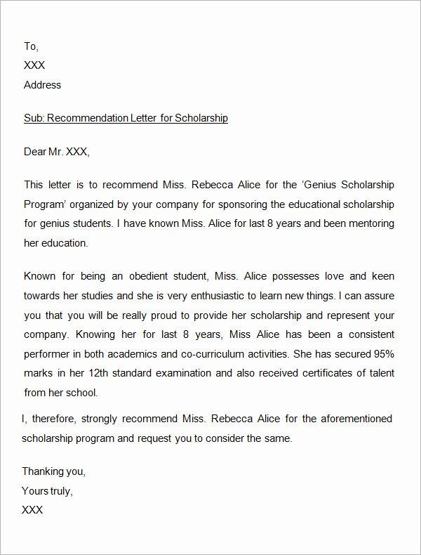 Scholarship Recommendation Letter Sample Luxury 30 Sample Letters Of Re Mendation for Scholarship Pdf