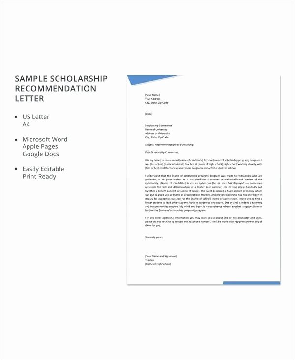 Scholarship Recommendation Letter Samples Awesome 30 Sample Letters Of Re Mendation for Scholarship Pdf