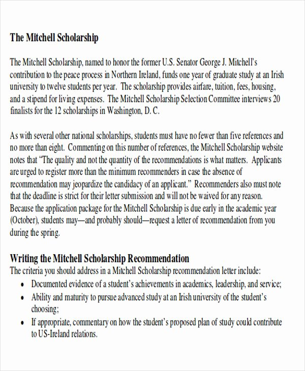 Scholarship Recommendation Letter Samples Awesome 9 Sample High School Re Mendation Letter Free Sample