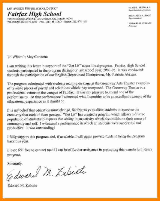 Scholarship Recommendation Letter Samples Beautiful 9 Re Mendation Letter for Student Scholarship Sample