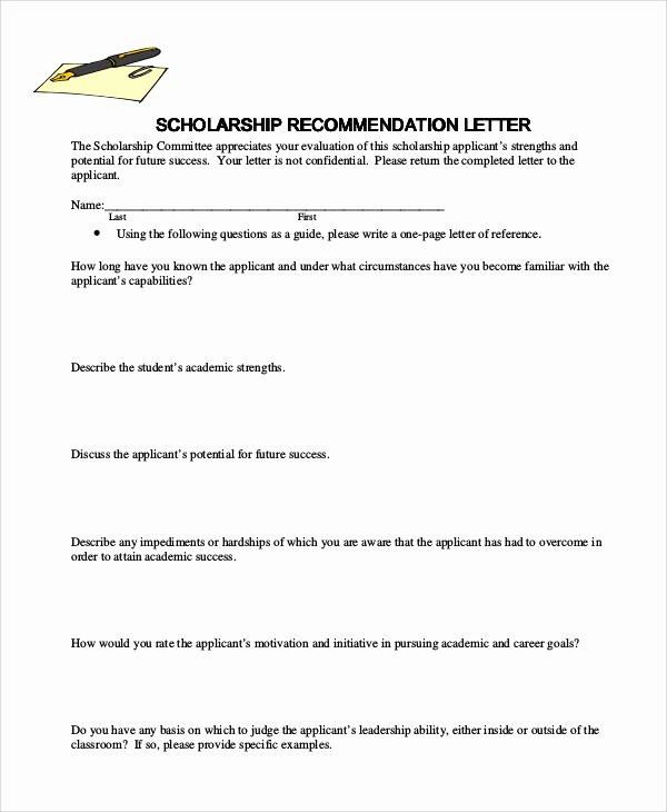 Scholarship Recommendation Letter Samples Fresh Examples Of Re Mendation Letter