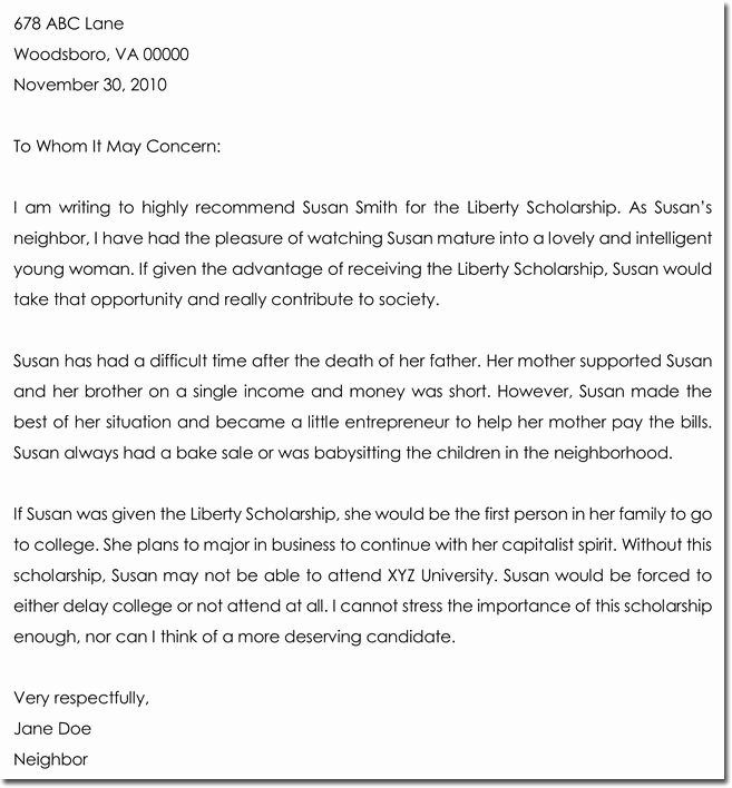 Scholarship Recommendation Letter Samples Fresh Letter Of Re Mendation for Scholarship 8 Best Samples