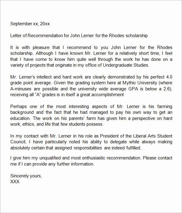 Scholarship Recommendation Letter Samples Inspirational 30 Sample Letters Of Re Mendation for Scholarship Pdf