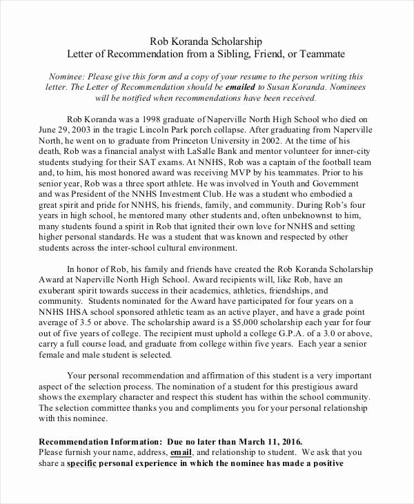 Scholarship Recommendation Letter Template Elegant 40 Re Mendation Letter Templates In Pdf