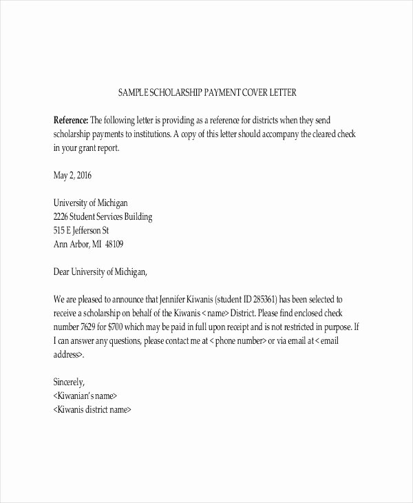 Scholarship Recommendation Letter Template Elegant Scholarship Letter Template 11 Free Sample Example