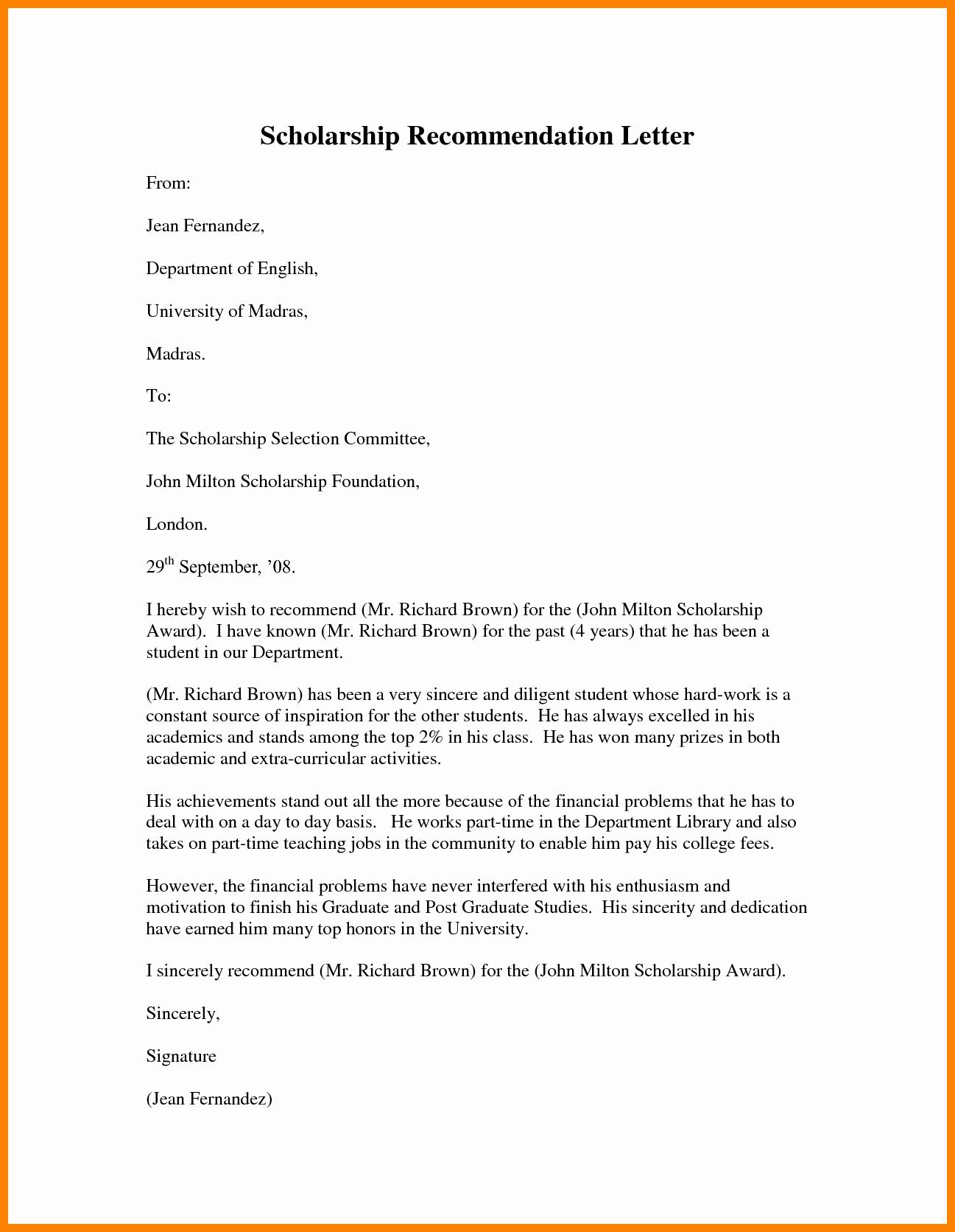 Scholarship Recommendation Letter Template Fresh 5 Re Mendation Letter Sample for Student Scholarship
