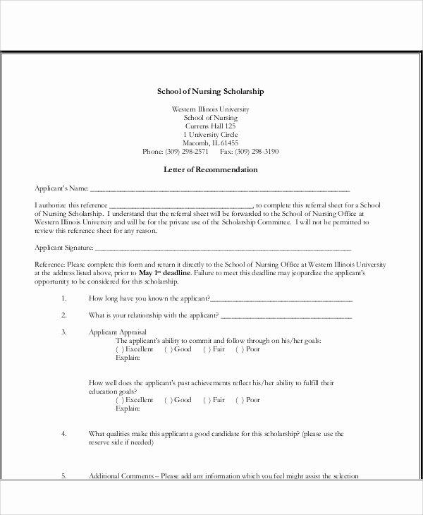 Scholarship Recommendation Letter Template Inspirational 8 Sample Nursing Re Mendation Letter Free Sample