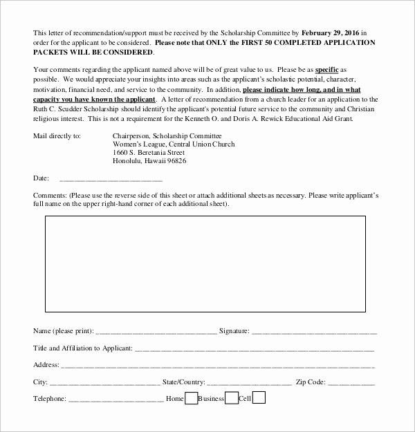 Scholarship Recommendation Letter Template Unique 30 Sample Letters Of Re Mendation for Scholarship Pdf