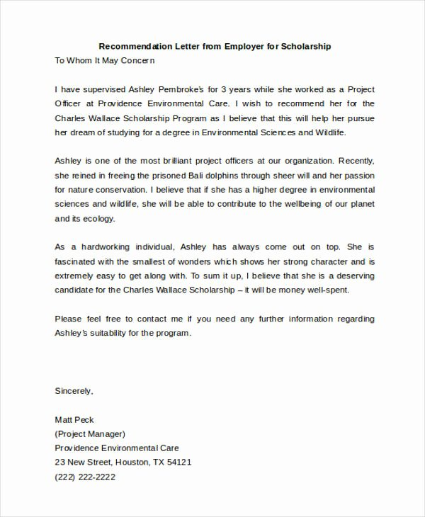 Scholarship Recommendation Letter Templates Inspirational 45 Free Re Mendation Letter Templates