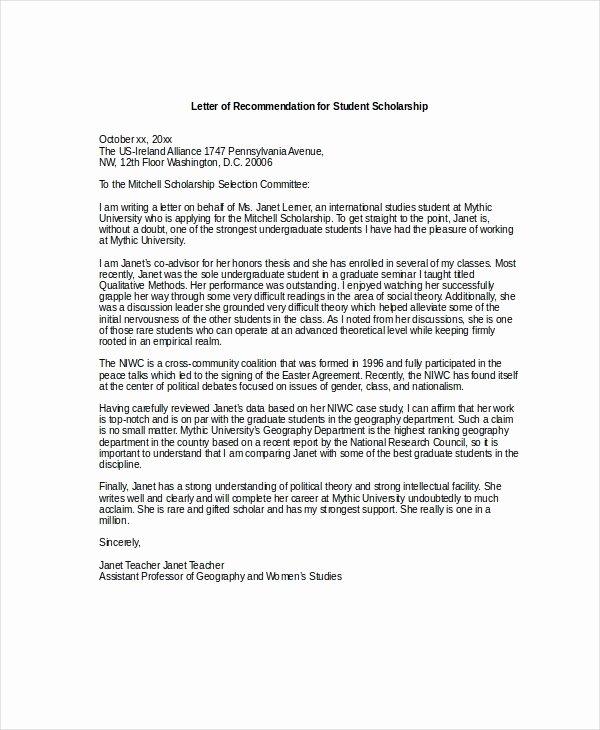 Scholarship Recommendation Letter Templates Lovely Letters Re Mendation for Scholarships 2018