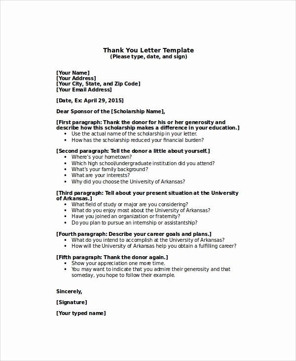 Scholarship Thank You Letter format Awesome 7 Thank You Letter for Scholarship Samples