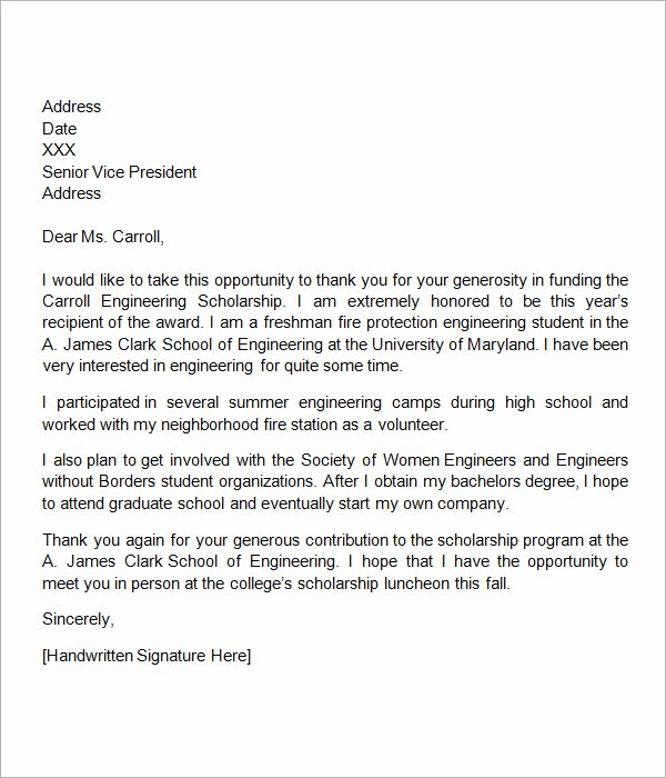 Scholarship Thank You Letter format Beautiful 13 Sample Scholarship Thank You Letters Doc Pdf