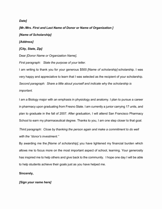 Scholarship Thank You Letter format Beautiful 9 Best Scholarship Thank You Letter Samples & Examples