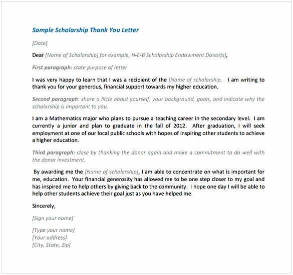 Scholarship Thank You Letter format Beautiful Thank You Letter for Scholarship Sample