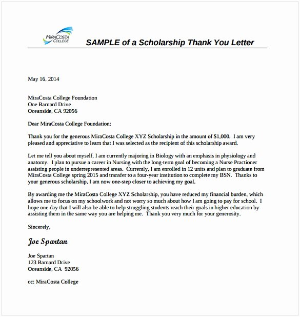 Scholarship Thank You Letter format Luxury Thank You Letter for Scholarship Sample