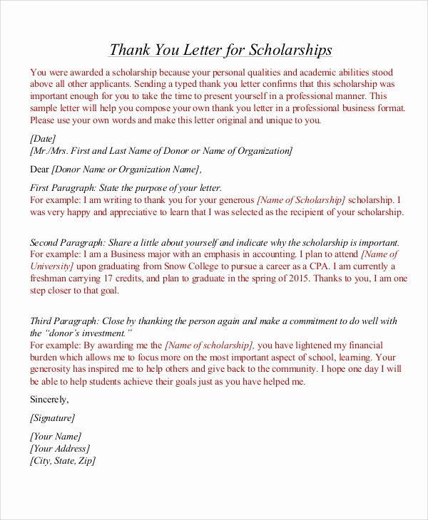 Scholarship Thank You Letter format New 7 Thank You Letter for Scholarship Samples