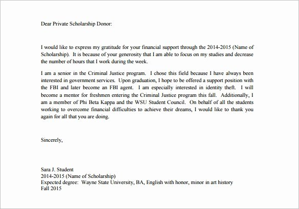 Scholarship Thank You Letter format New 9 Scholarship Thank You Letter Doc Pdf