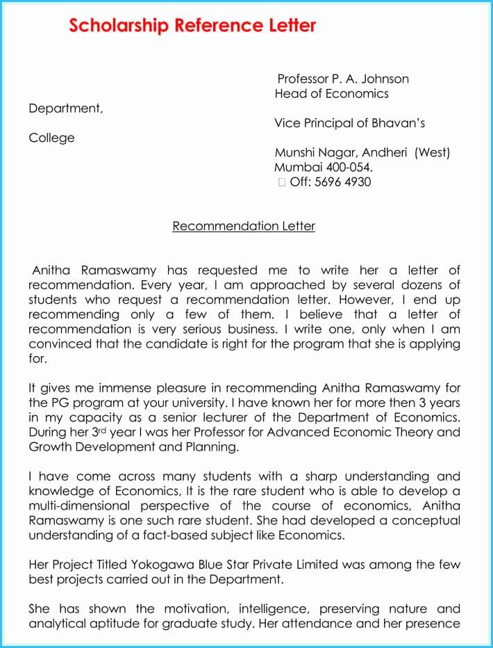 Scholarships Recommendation Letter Sample Fresh Scholarship Reference Re Mendation Letters 7 Sample
