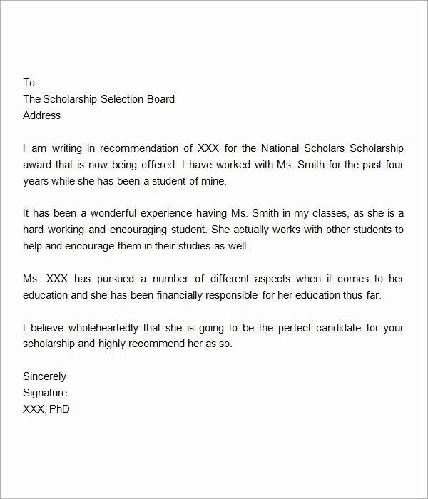 Scholarships Recommendation Letter Sample Lovely Sample Letter Of Re Mendation for Scholarship 10 Free