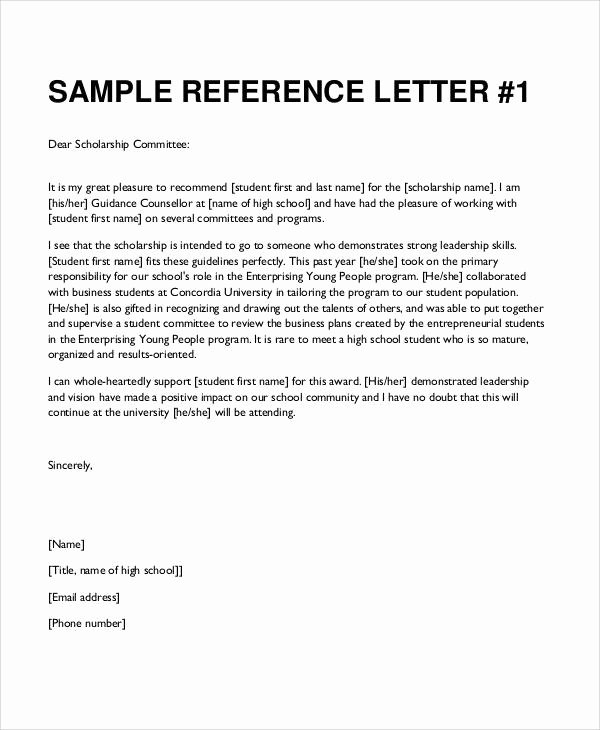 Scholarships Recommendation Letter Templates Lovely Sample Student Letter