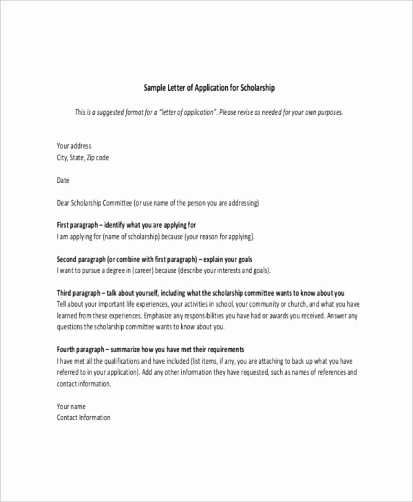 Scholarships Recommendation Letter Templates Lovely Scholarship Letter Template 11 Free Sample Example