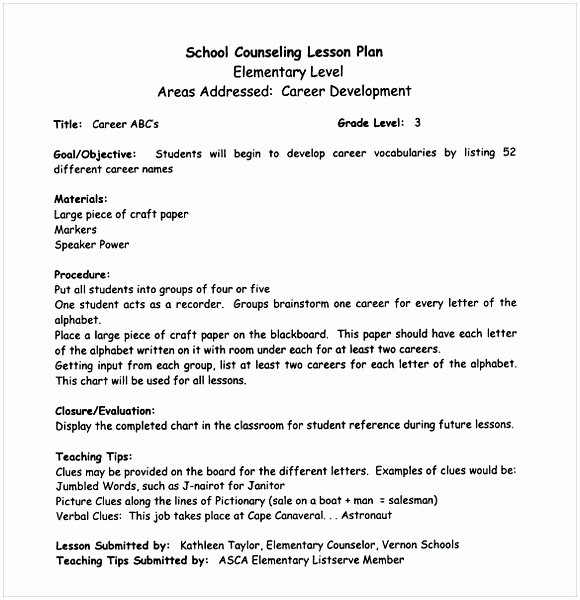 School Counselor Lesson Plan Template Inspirational Middle School Lesson Plan Template