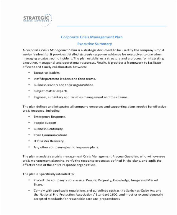 School Crisis Plan Template Fresh Crisis Management Plan Templates 10 Free Word Pdf