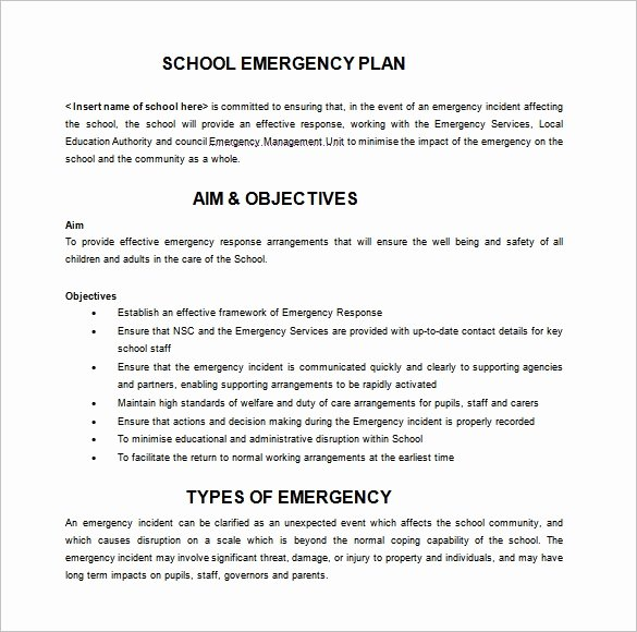 School Crisis Plan Template Luxury 14 Emergency Plan Templates Free Sample Example