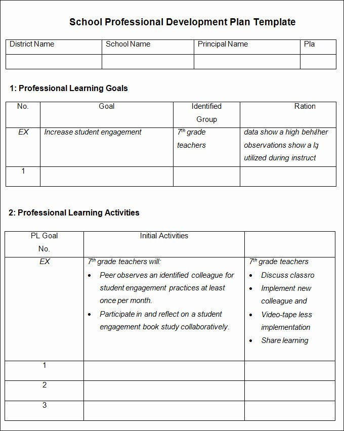School Improvement Plan Template Best Of Professional Development Plan Template 13 Free Word